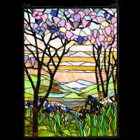 Tiffany Magnolia Stain Glass Panel
