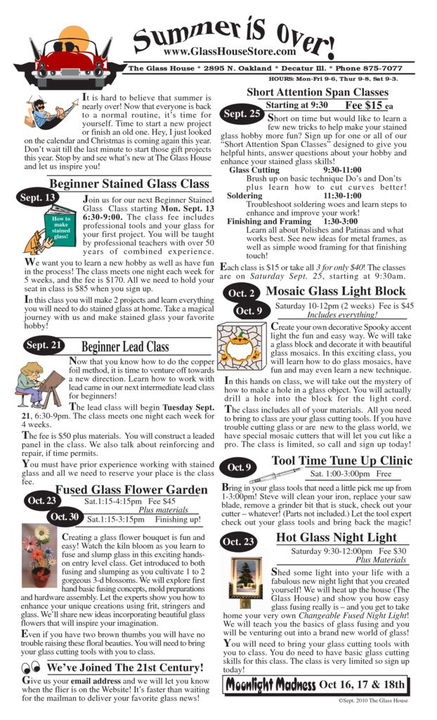 thumbnail of Stained Glass Sales Flier September 2010