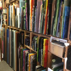 One of several full sheet storage racks! We stock Spectrum, Kokomo, Wissmach, Youghiogheny, Uroboros, Bullseye, Armstrong, Antiques, and many Clear textures.