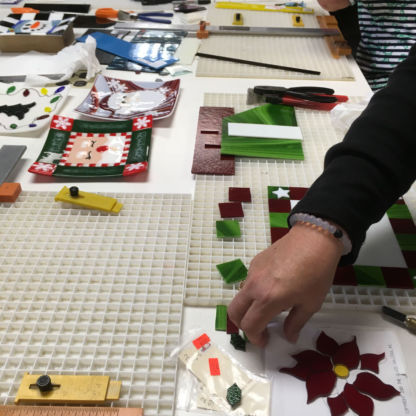 Fused christmas cookie tray class student assembling project
