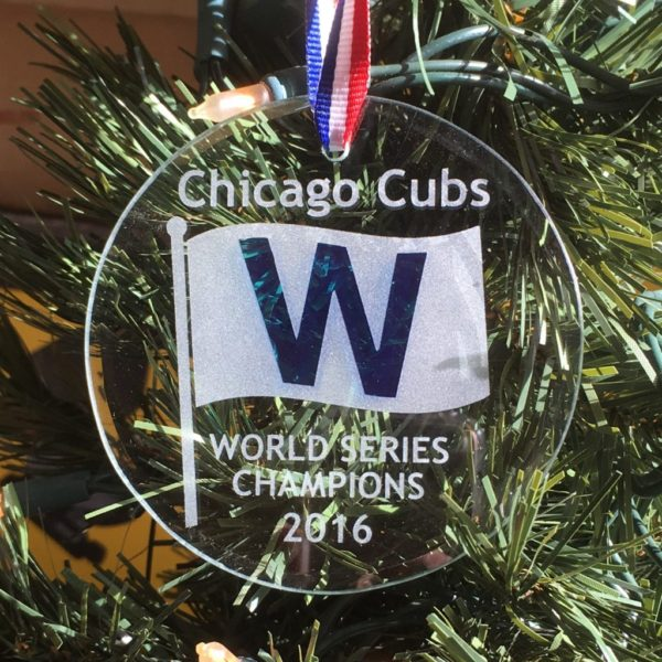 Chicago Cubs World Champions 2016 W Commemorative Ornament