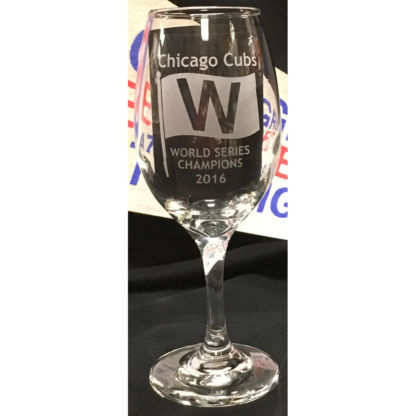 Chicago Cubs World Series Champions 2016 Etched Wine Glass