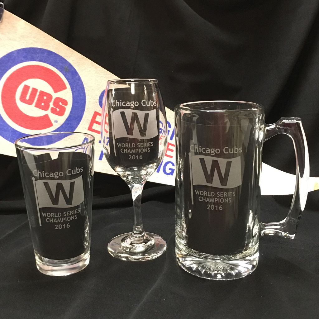 Chicago Cubs World Series Champions W etched pint glass, Wine glass and beer mugs