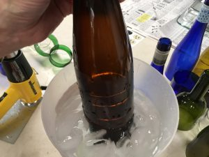 SM bottle in ice shows rings