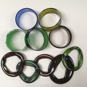 Wine Bottle Rings (fresh cut and kiln slumped)