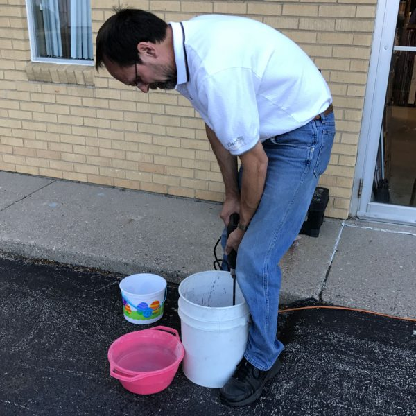 Steve Mixing DiamondCrete for Stepping Stone Class