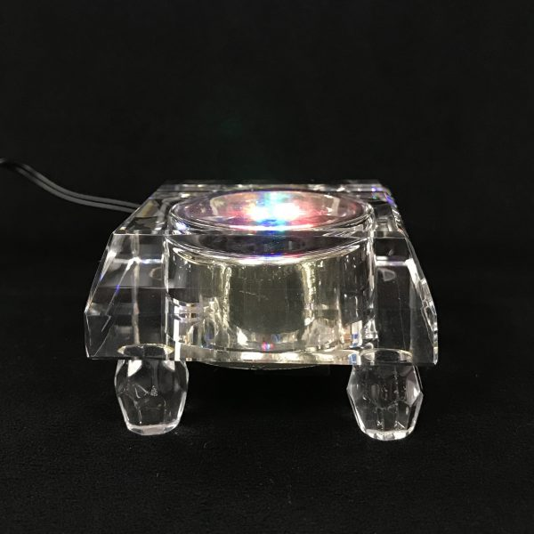 Lighted base glass stand side view