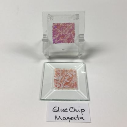 "Magenta dichroic glue chip 2"" x 2"" square glass stock bevel"