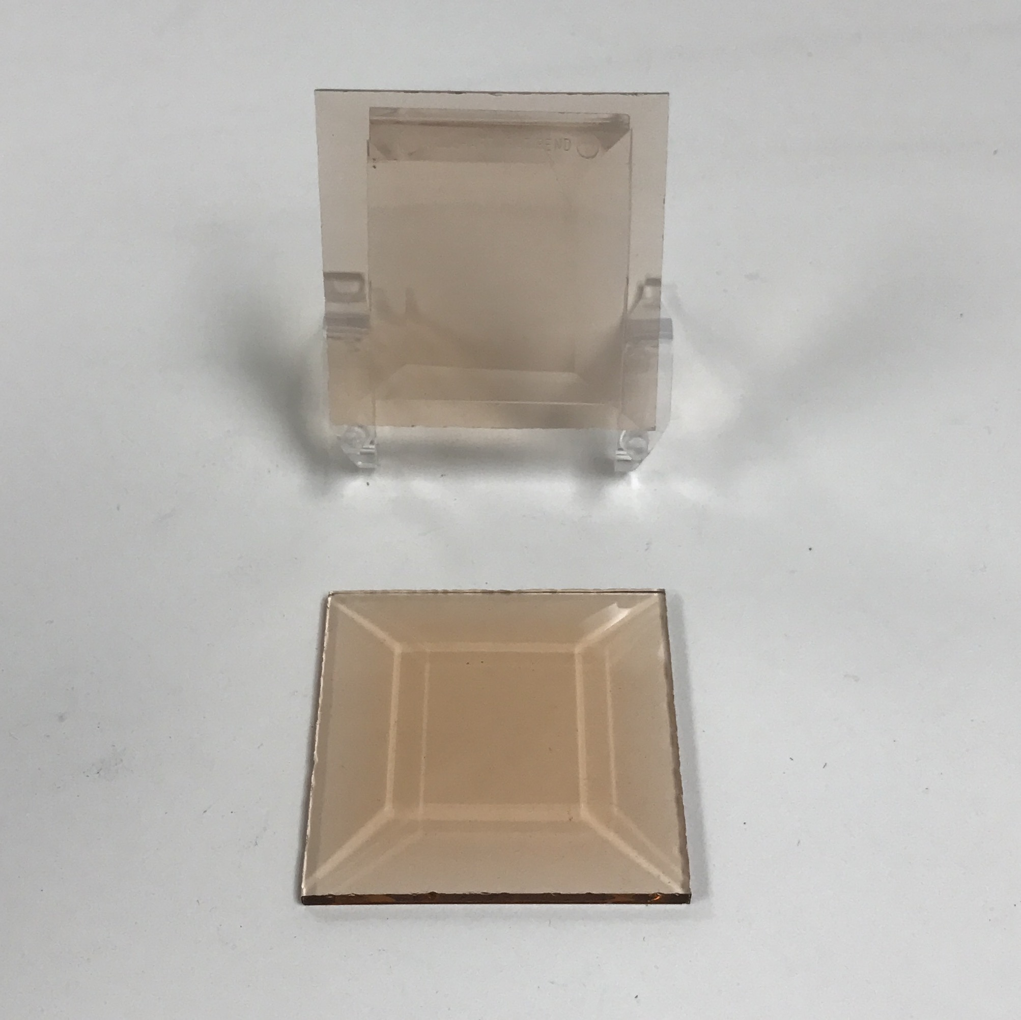 Peach square glass bevel 2 x 2