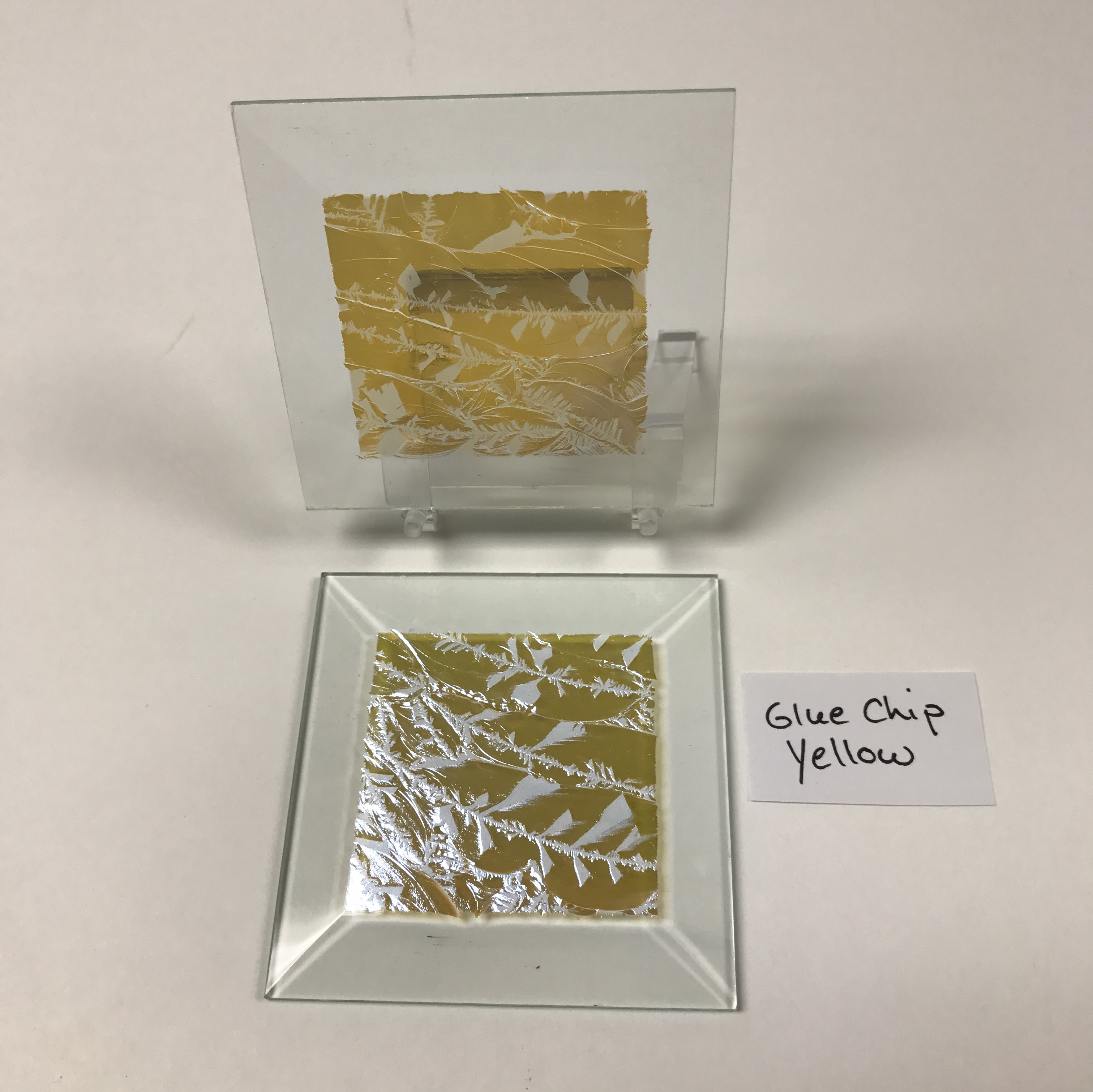 "Yellow dichroic glue chip 3"" x 3"" square glass stock bevel"