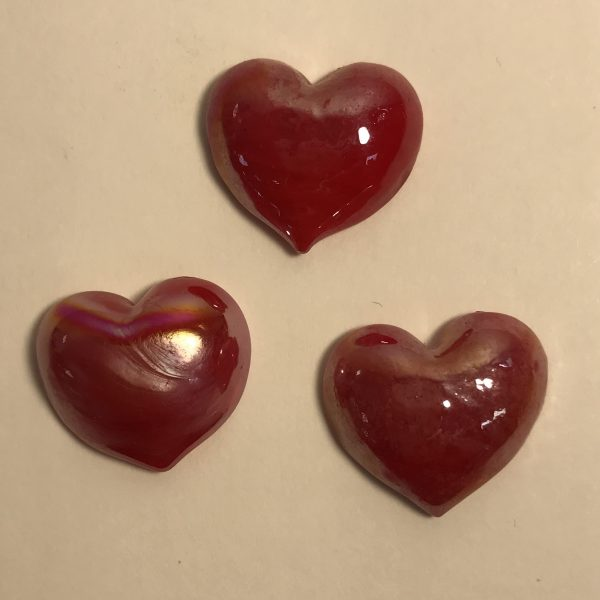 Small red glass hearts