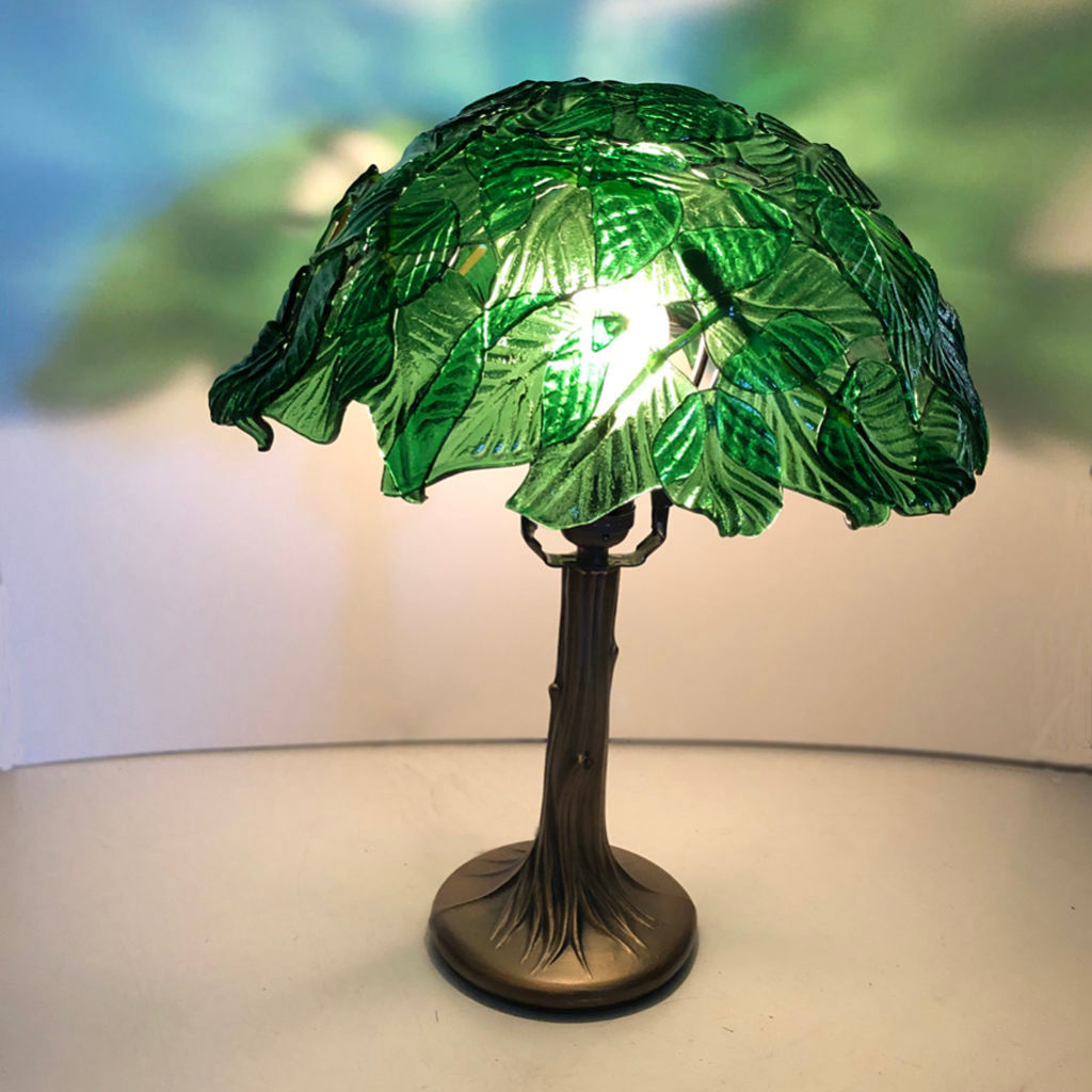 3D Fused Green Glass Leaf Lamp Shade